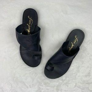 Free People Sant Antoni Navy Blue Leather Sandals